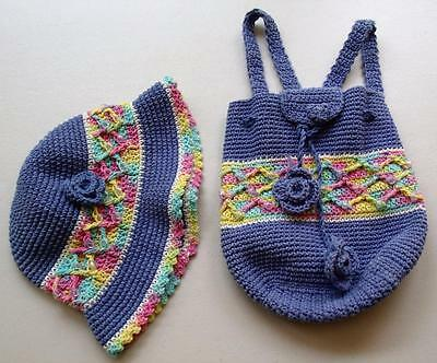 Hand & Heart Crochet & Beaded Purple Hat with Backpack Girls/Childs