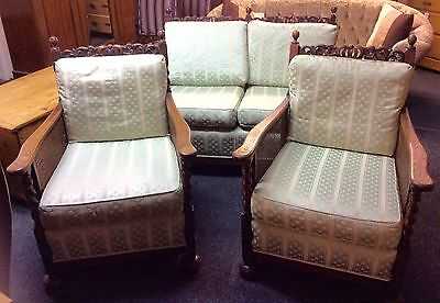 Early 20th Century Barley Twist Cane 3 Piece Suite