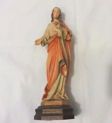 Germany Hand Carved Wood and Wooden Jesus Statue 8 1/4""