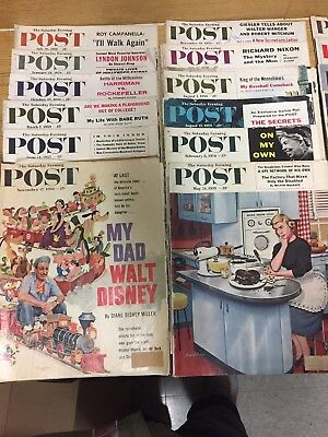 GREAT 1950's VINTAGE LOT OF 28 SATURDAY EVENING POST MAGAZINES