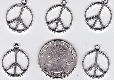 SC6316 4 Peace Sign Pendant Charms Antique Silver Tone