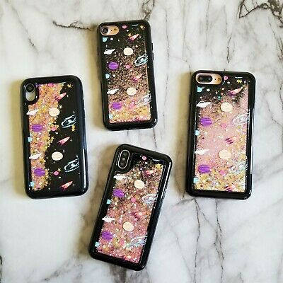 size 40 ec125 5fca4 BLACK FLOATING STARS Space Liquid Waterfall Bling Glitter Case For iPhone  Models
