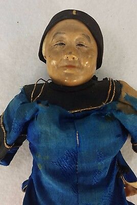 """Antique Chinese Door of Hope Mission Doll 8.5"""" or 22 cm. Old Costume Great Face"""