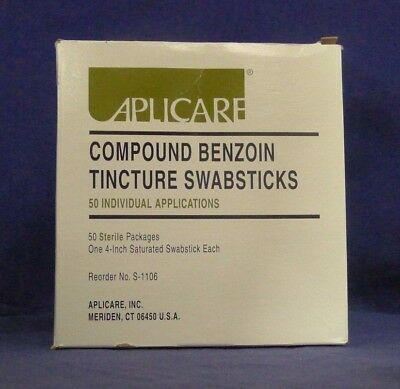 Aplicare S-1106 Compound Benzoin Tincture Swabsticks 50 Pack NEW