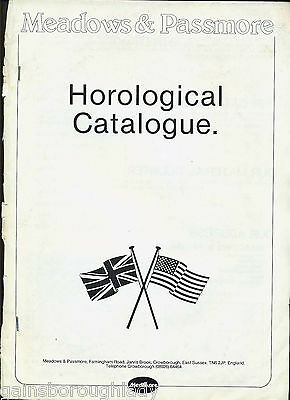 Horological Catalogue-Clock Parts-Dials - Meadows & Passmore-1982 & Price List