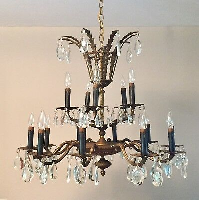 Vintage 15 Light / Arm Solid Brass 3-Tiered Prism Chandelier Spain French Style
