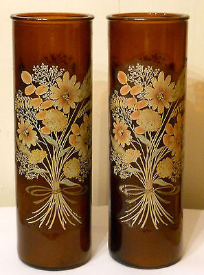 Tall Brown Glass Candle Set of 2 Floral Column Pillar Holders Mid Century Modern