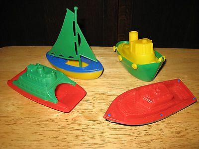 4 Vintage TOY Boats Bath Plastic Bright Colors  BATHTUB TOYS  Made in U.S.A.