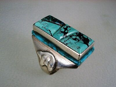 VINTAGE NAVAJO STERLING SILVER & RAISED TURQUOISE INLAY RING sz 9.75 signed