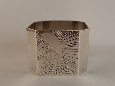 Antique English Hallmarked Sterling Silver Napkin Ring w/ Engraved Sun No Res