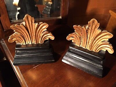 SET OF HEAVY VINTAGE BOOKENDS Ornate, Gold Painted Top on Faux Wood Base