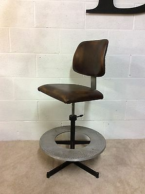 Vintage Industrial  Machinist Workshop Architects Chair Swivel Stool leather