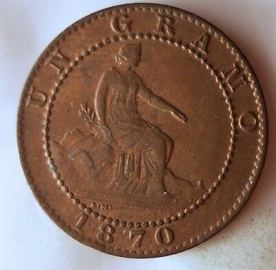 1870 SPAIN CENTIMO - Great Collectible - FREE SHIPPING - Spain Bin C