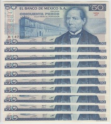 Mexico  Banknote P.73 50 Pesos 27 Ene 1981 Serie Jy Lot Of 10 Uncirculated