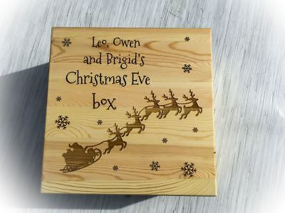 Beautiful Personalised Engraved Wooden Christmas Eve Treats Box Santa / Reindeer