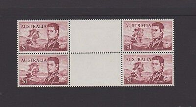 Australia 1966 $1 Flinders Gutter Block of 4, Mint Never Hinged. Superb.