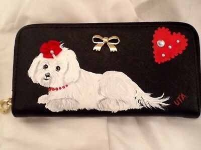 ❤️Maltese Dog Hand Painted Wallet Handbag Purse Clutch artbyuta
