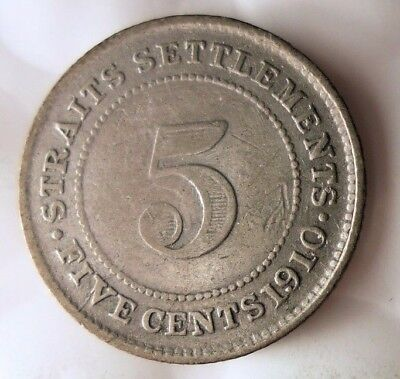1910 STRAITS SETTLEMENTS 5 CENTS - Rare Big Value Silver Coin - Lot #915