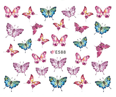 Nail Art 3D Decals Transfers Stickers Pink Blue Butterflies (E588)