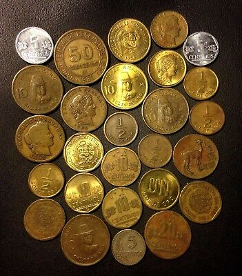 Old Peru Coin Lot - 1919-Present - 27 Great Coins - Lot #915