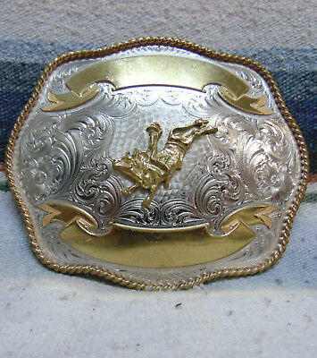 Vintage Montana German Silver Bull Rider Trophy Belt Buckle Very Good Condition