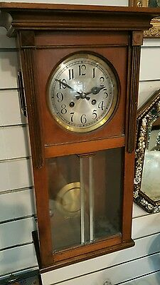 Harfen Gong (possibly Gustav Becker?) wall hung long case clock working order...