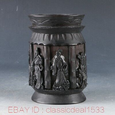 Chinese Hardwood Handwork Carved the Eight Immortals Hollow Brush Pot ZJ0116