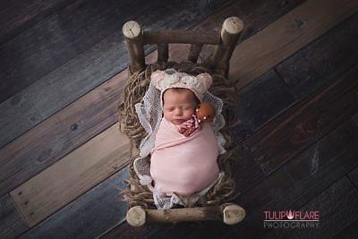 Newborn Photography Props Mini Wood Bed Photography Props for Newborns and Ba...
