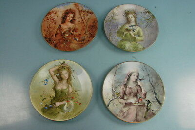 Set of 4 Guy Cambier Girls of the Seasons Collectible Plates D'Arceau-Limoges