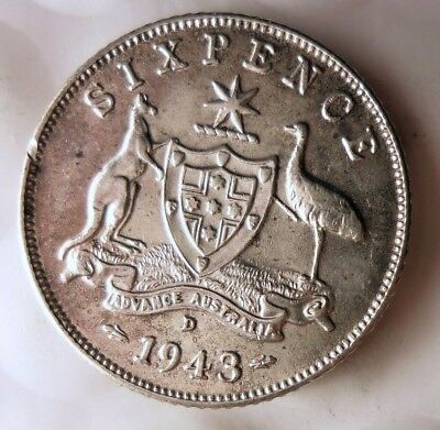 1943 D AUSTRALIA 6 PENCE - AU - GREAT Sterling Silver Coin - Lot #915