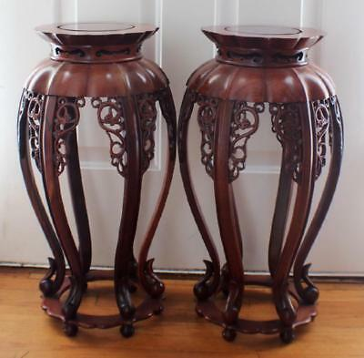 Pair Of Vintage Chinese Carved Wood Stands