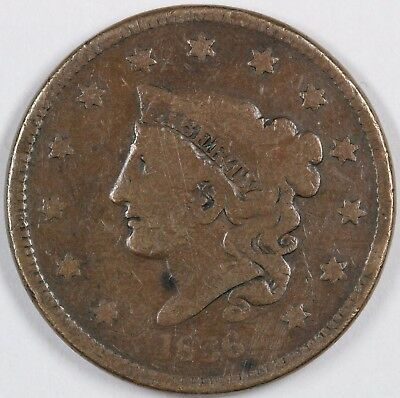 1836 N-2 Matron or Coronet Head Large Cent 1C