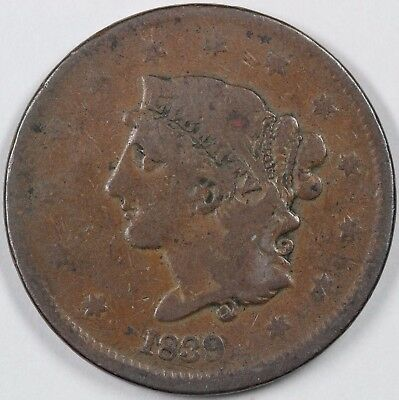 1839 N-13 Booby Head Matron or Coronet Head Large Cent 1C