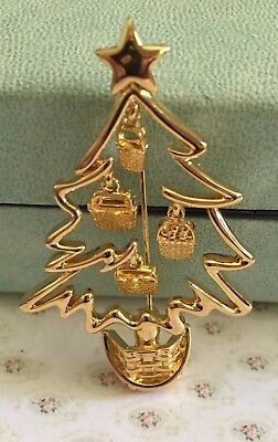 Longaberger Basket Golden Christmas Tree Pin ~ Book Piece ~ Rare