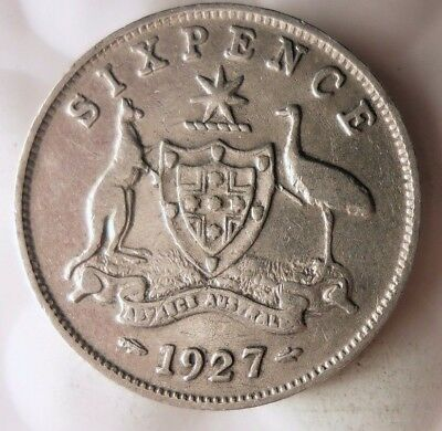 1927 AUSTRALIA 6 PENCE - RARE DATE - High Value Sterling Silver Coin - Lot #915