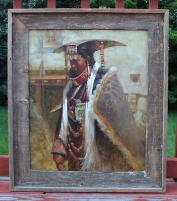 Chinese Oil Painted On Canvas W/Frame