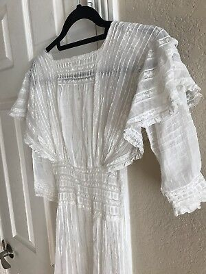 Antique Vintage 1870s White Bohemian Sheer Gown Dress