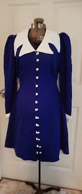 Vintage 60's long sleeve blue mini dress w/ white sailor style collar & accents