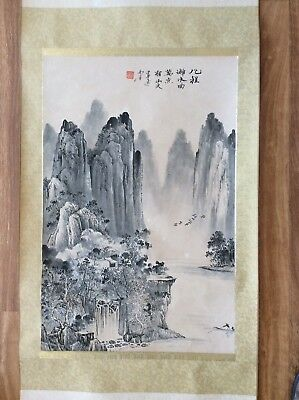 vintage Chinese scroll painting, watercolour landscape waterfall China Asian art