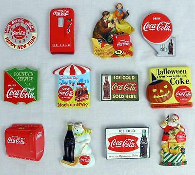 Lot of 12 HTF Willabee & Ward COCA COLA Refridgerator Magnets RETIRED