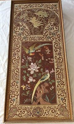 old Chinese embroidered silk panel pheasant koi peony embroidery China Asian art