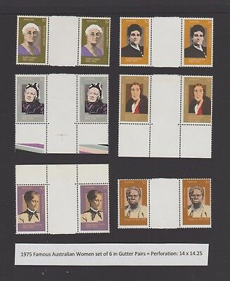 1975 10c Famous Women set of 6 in Gutter Pairs (Perf: 14.25 x 14), Unfolded MNH.