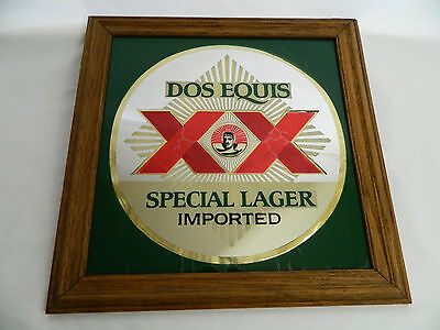RARE VTG Dos Equis XX Beer Sign Bar Mirrored Pub Advertising Mancave Brewery