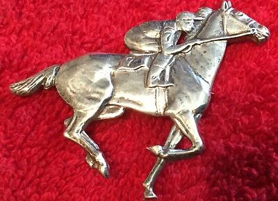 Racehorse Sterling Silver Pin