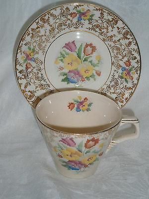 Antique H & K. Tunstall Allover Floral Chintz Petit Point Floral Cup & Saucer