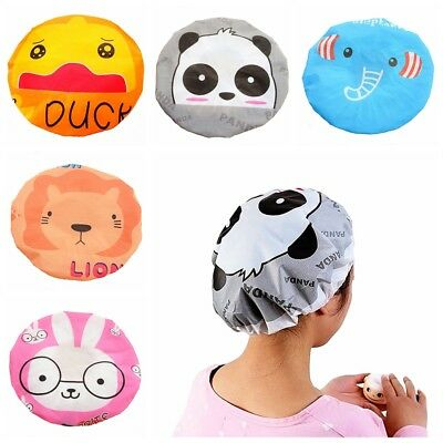 2pcs New Shower Cap Waterproof Elastic Band Hat Bath Caps Cute Cartoon Bathroom