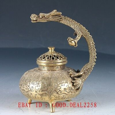 Old Brass Hand Made Dragon Handle Incense Burner With Ming Dynasty Xuande Mark