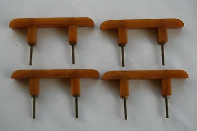 4 Vintage Art Deco Bakelite Caramel Butterscotch Drawer Pulls Cabinet Hardware