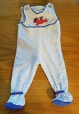 Vintage Thomas Baby Boy Romper Footed Blue White Polka Dot 3-6 Months