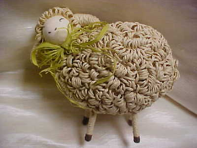 Vintage Hand Made Straw Basket Material Grass White Sheep Animal Figurine #1